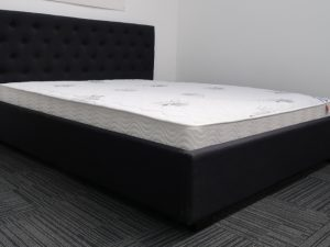 Black Upholstery Bed Frame and Luxury Mattress