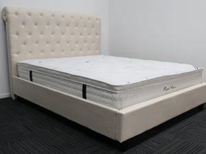 Cream Upholstery High Headboard Bed Frame and Pillow Top Mattress
