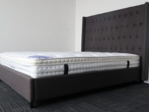 Charcoal Upholstery High Headboard Bed Frame and Pillow Top Mattress