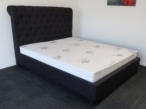 Black High Headboard Bed Frame and Luxury Mattress