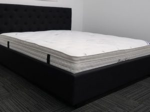 Black Upholstery Bed Frame and Pillow Top Mattress