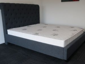 Charcoal High Headboard Bed Frame and Luxury Mattress