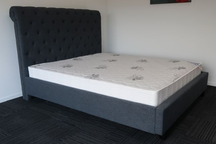 King Charcoal Upholstery High Headboard Bed Frame And Luxury