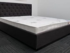 Double Charcoal Upholstered Bed & Luxury Mattress