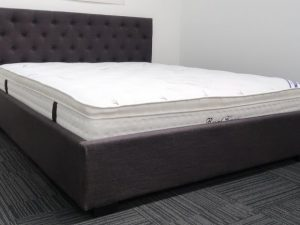 Charcoal Upholstery Bed Frame and Pillow Top Mattress