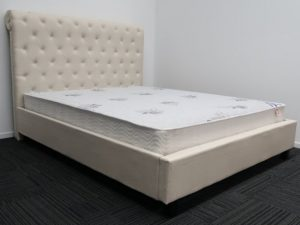 Cream High Headboard Bed Frame and Luxury Mattress