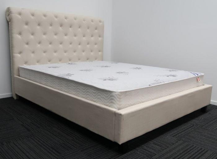 Queen Cream Upholstery High Headboard Bed Frame And Luxury Mattress