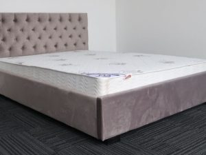 Silver Upholstery Bed Frame & Luxury Mattress