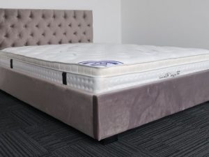 Silver Upholstery Bed Frame and Pillow Top Mattress