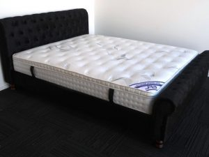 Black Upholstery Sleigh Bed Frame & Pillow Top Mattress