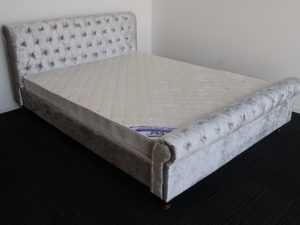 Silver Upholstery Sleigh Bed Frame and Luxury Mattress