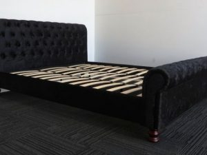 Black Upholstery Sleigh Bed Frame