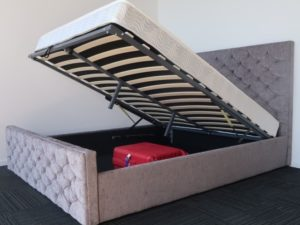 Silver Upholstery Storage Bed Frame and Luxury Mattress