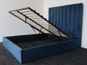Blue High Head Board Storage Bed Frame