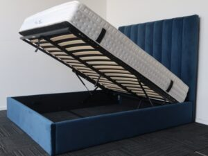 Blue High Headboard storage Bed Frame and Pillow Top Mattress